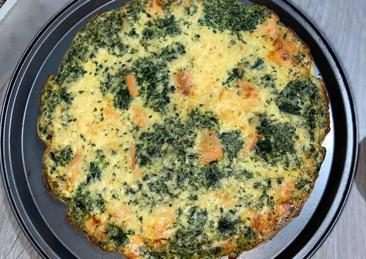 Recette De Quiche sans pâte saumon et épinard