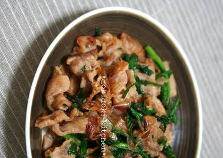 How to Make Super Quick Homemade Crispy Pork and Chrysanthemum Greens Stir-Fry with Bonito Flakes