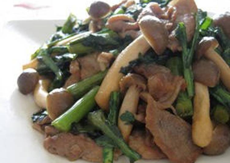 Going Green for Good Health By Dining Superfoods, Pork and Shungiku Chrysanthemum Greens Brown Sugar Stir-Fry