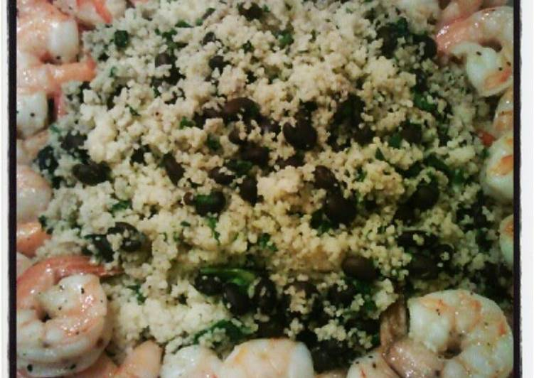 Easiest Way to Prepare Tasty Black bean & spinach couscous with baked shrimp