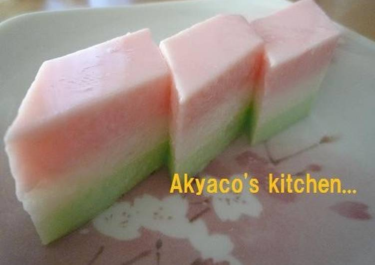 Easiest Way to Make Super Quick Homemade Tricolored Agar-based Milk Jelly with Shaved Ice Syrup for the Japanese Doll Festival
