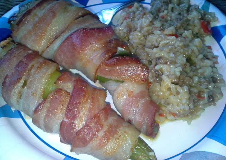 Easiest Way to Prepare Perfect Bacon Wrapped Pulled Pork and Cream Cheese Stuffed Anaheim Peppers and Sausage and Peppers Rice