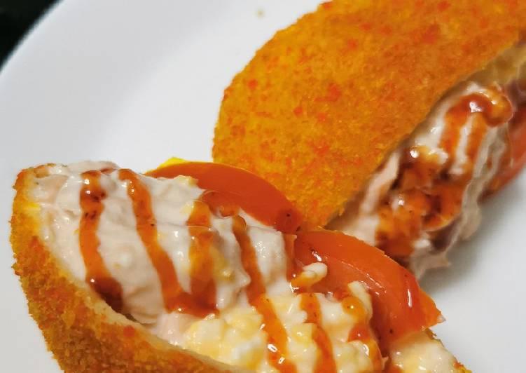 Resepi:  Poket ajaib telur tuna mayonis 😘  Enak