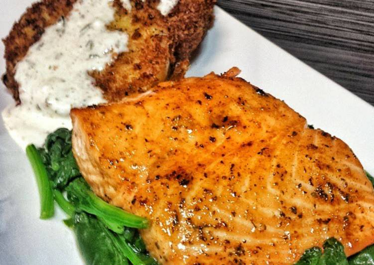 Salmon with Spicy Maple Brown Sugar Glaze