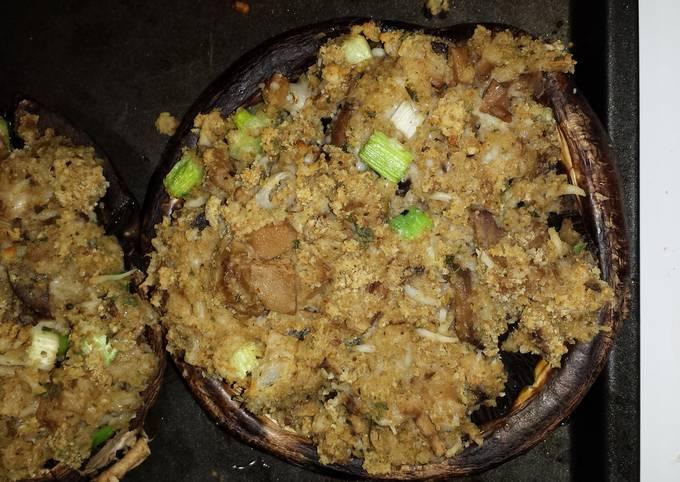 Bread Crumb Stuffed Portobello Mushrooms