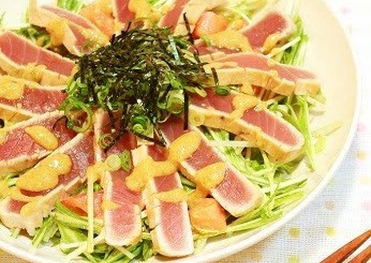 How to Cook Appetizing Tuna Tataki and Mizuna Salad with Garlic-Miso Dressing