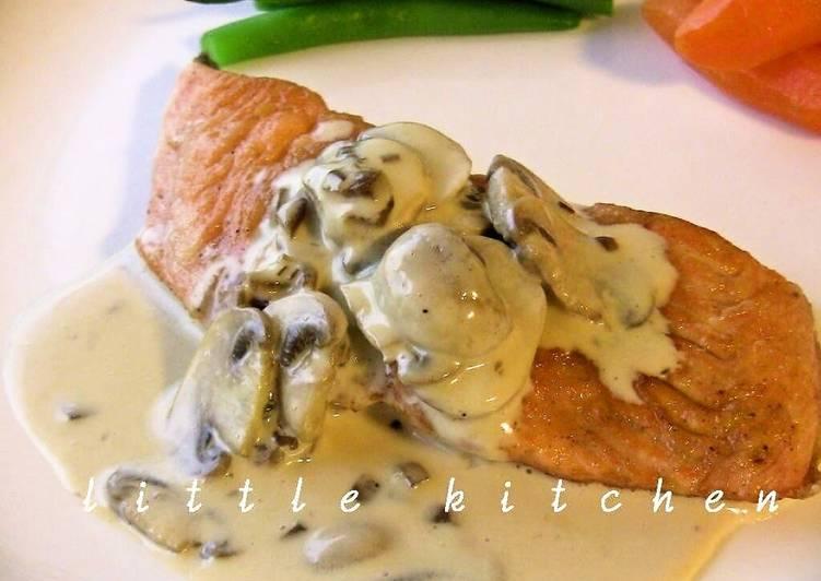 Pan Fried Salmon with Japanese Style Cream Sauce