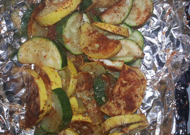 Fire pit Zucchini and yellow squash