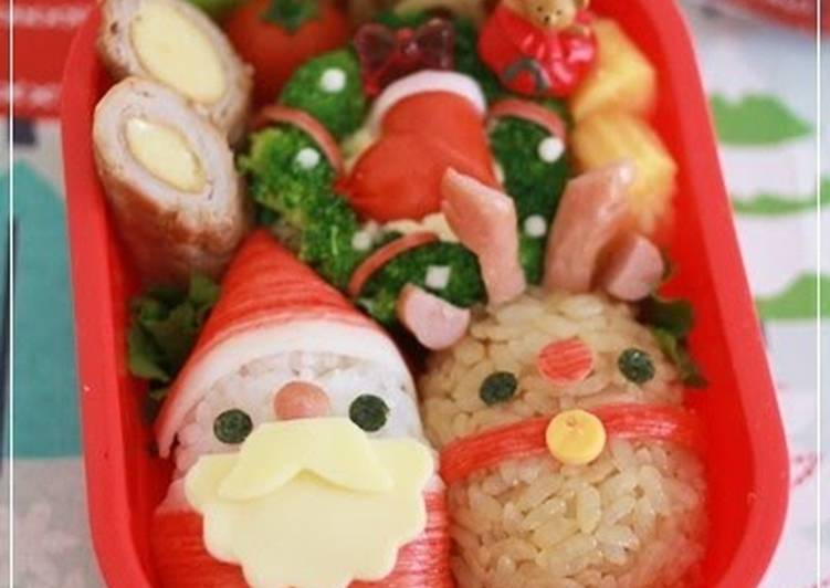 Christmas Character Bento with Santa Claus and a Reindeer