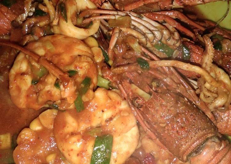 Resep Lobster udang cumi saus padang ala rumahan simple Anti Gagal