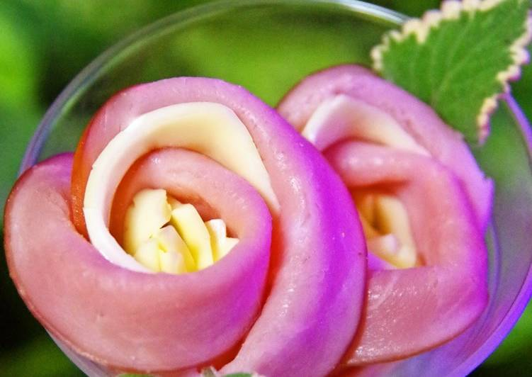 How to Cook Appetizing Easy Flower-Shapes! Ham and Cheese Rose Bento Box Fillers