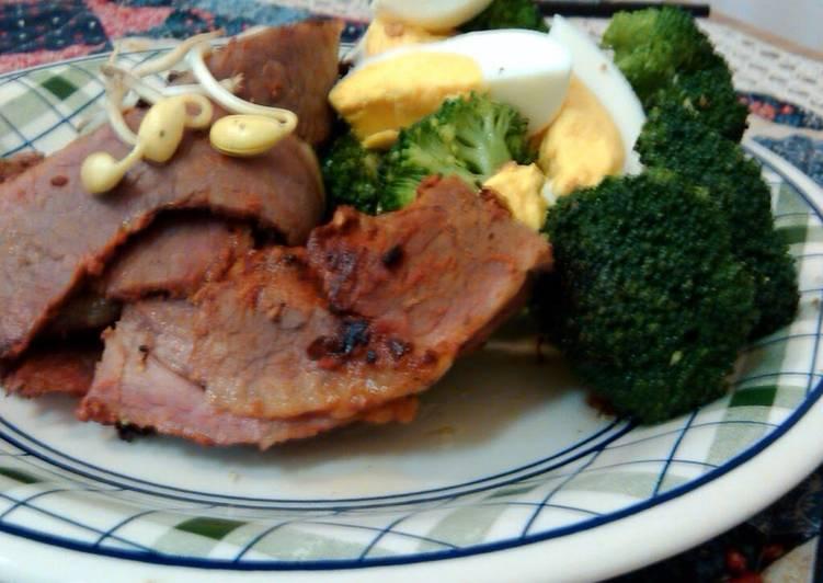 Pastrami grill and broccoli saute