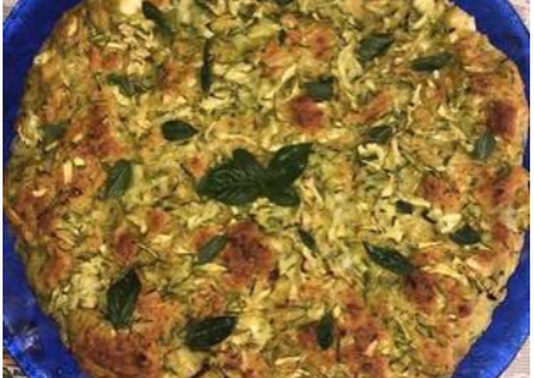 Ricetta Torta salata senza glutine con zucchine, pesto e feta