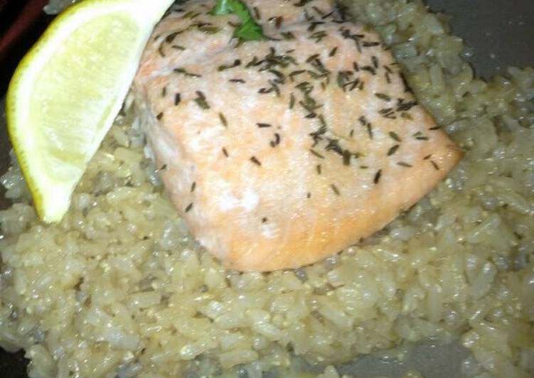 salmon and brown rice