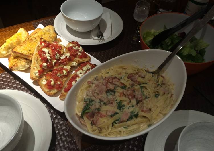 Recipe: Yummy Fettuccini and Bacon Carbonara with Parmesan