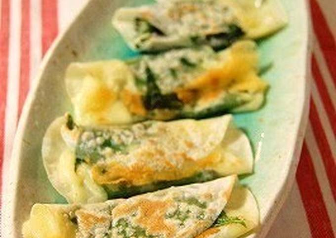 Shiso Leaves & Cheese Rolled in Gyoza Skins