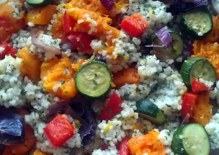 Vickys Herby Cous Cous with Roasted Vegetables, GF DF EF SF NF