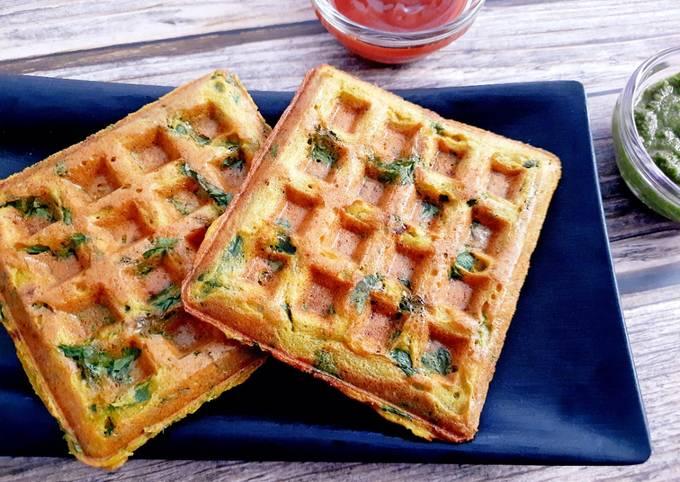 Moong Dal Palak Waffles