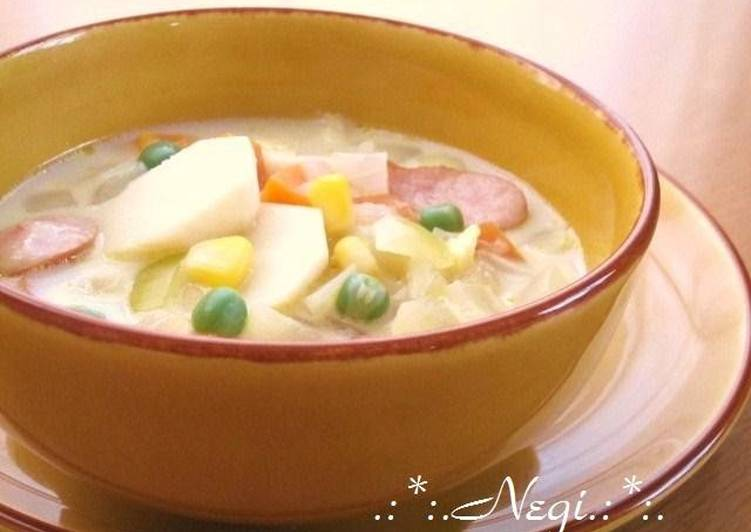 Easiest Way to Prepare Super Quick Homemade Soy Milk Soup with Taro Root, Corn, and Tons of Veggies