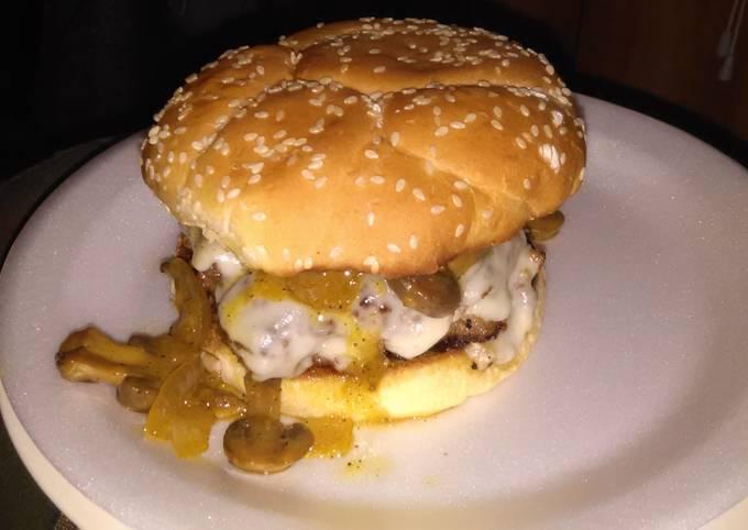 Cream cheese stuffed burgers this glazed onions and mushrooms