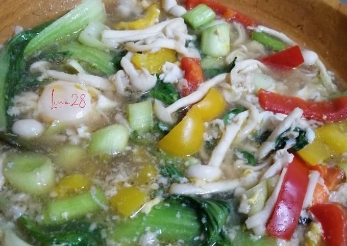 Sup Cendawan Sayur Pak Choy