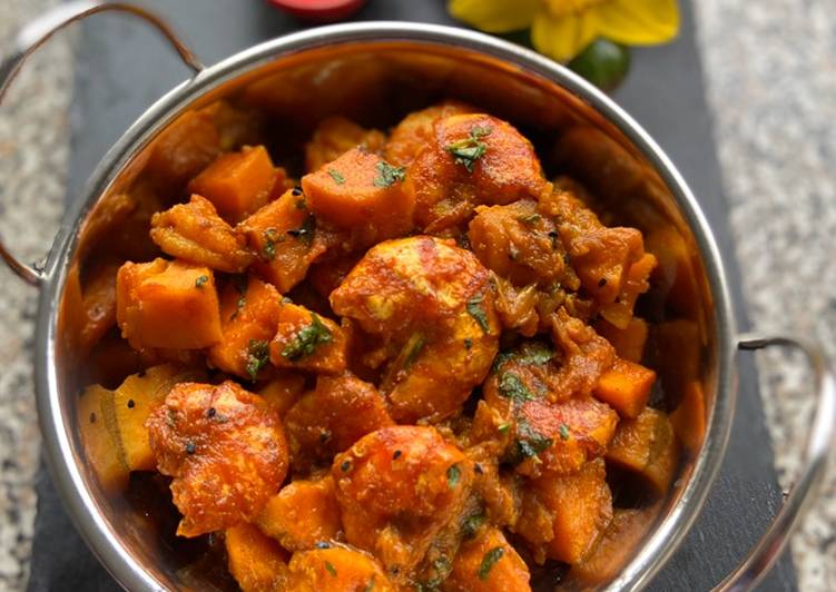 Prawn bhuna with sweet potato