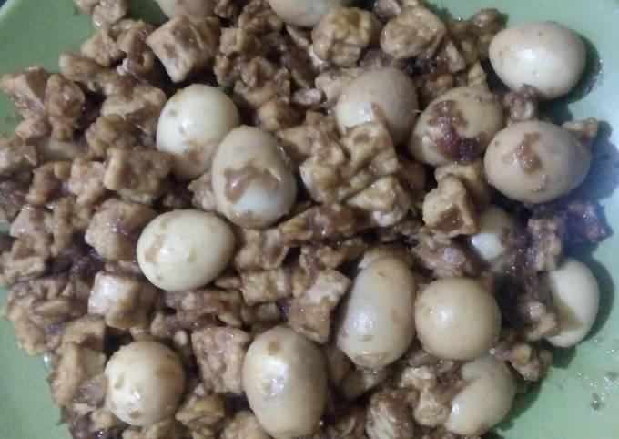 sambel goreng puyuh, tahu dan tempe - resepenakbgt.com