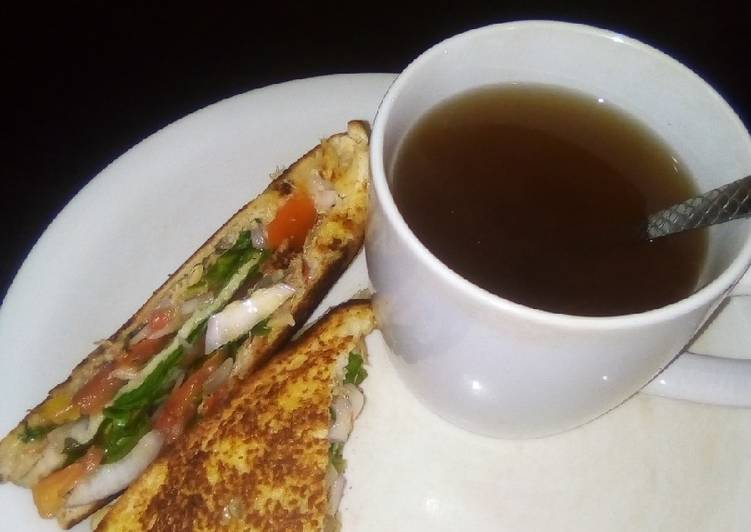 Simple Way to Make Super Quick Homemade Sandwich with Ginger and clove black tea
