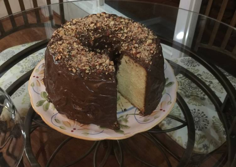 Simple Way to Make Ultimate Butter pound cake with chocolate almond frosting