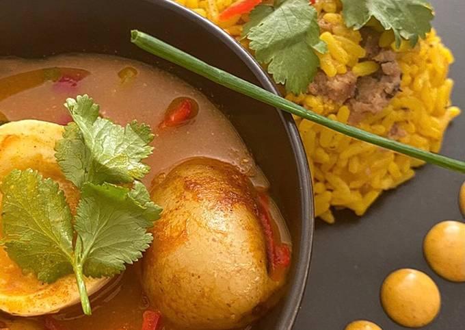Egg & Potato Curry with Keema Rice