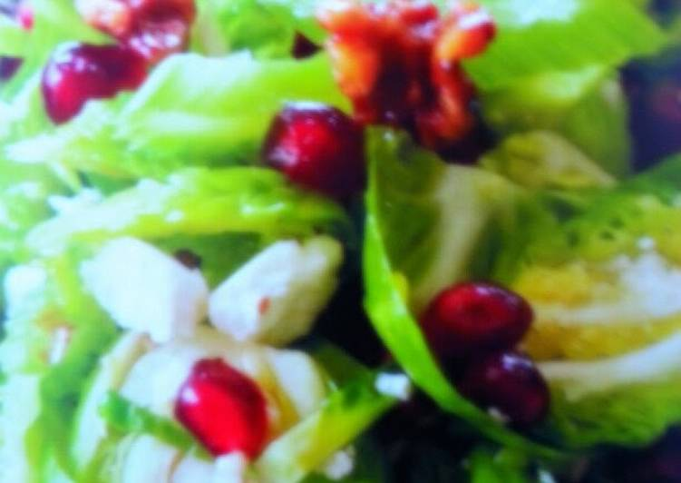 Shaved Brussels with Toasted Walnuts and Fresh Pomegranate.