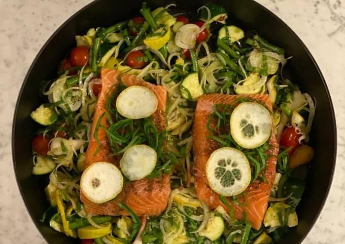 One-pan roasted salmon, market vegetables, lemon & olive oil from Spain