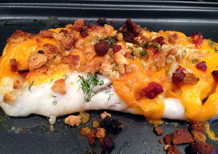 Easiest Way to Prepare Perfect Baked cod with crispy chorizo and cheese topping