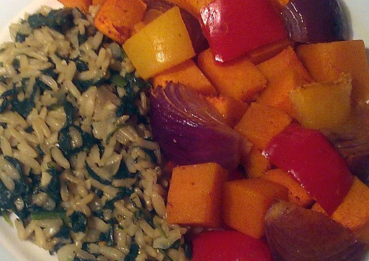 Vickys Spinach Pilaf and Spicy Roast Veg, GF DF EF SF NF
