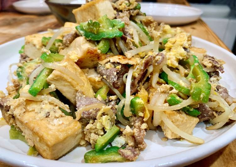 Tofu, Bitter melon, Pork and Egg Stir fry