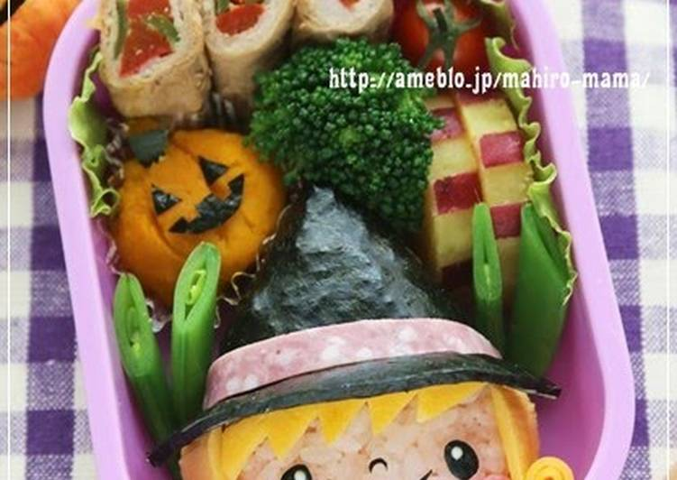 How to Make Super Quick Homemade Halloween Charaben (Character Bento) Little Witch Girl