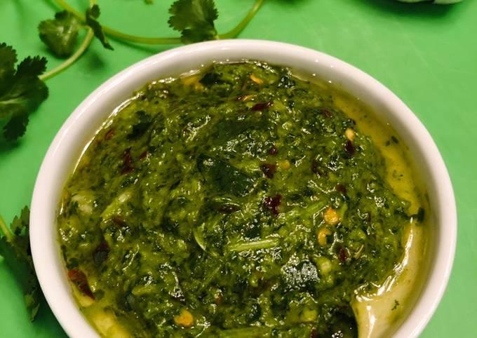 Homemade cilantro chimichurri sauce