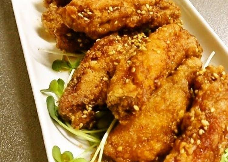 Steps to Make Any-night-of-the-week Chicken Wing Karaage with Sweet & Spicy Sauce
