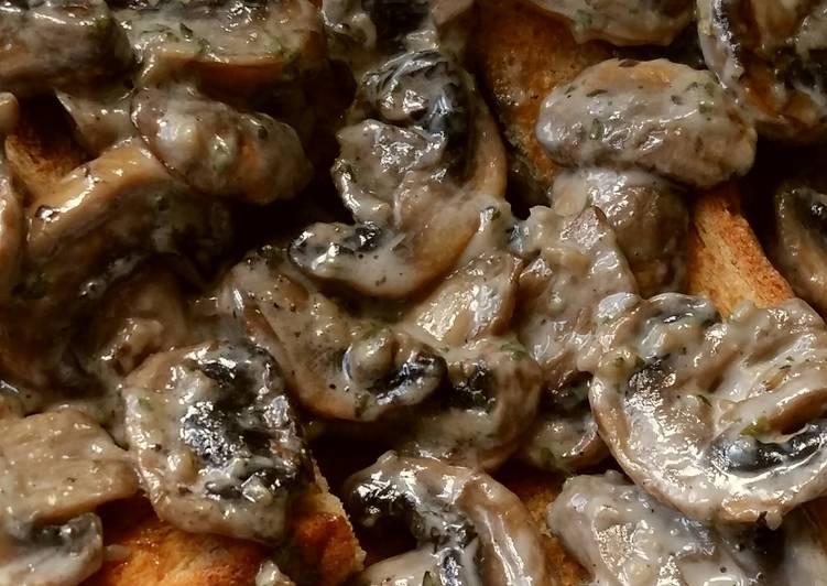 Recipe of Super Quick Homemade Vickys Creamy Garlic Mushrooms, GF DF EF SF NF