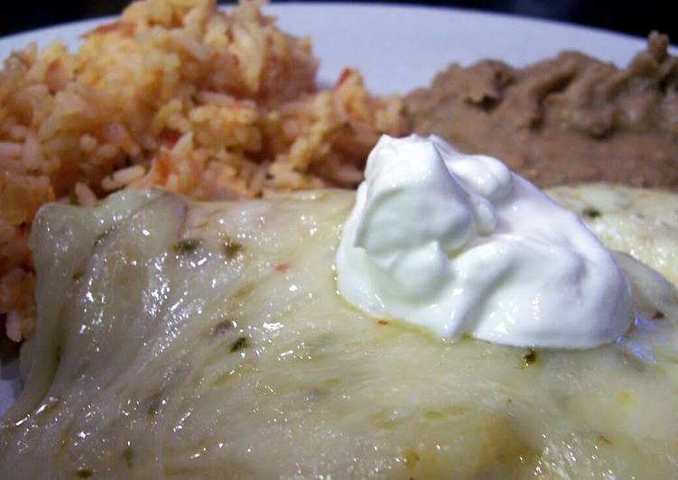 Green Chile Pepper Jack Chicken Enchiladas