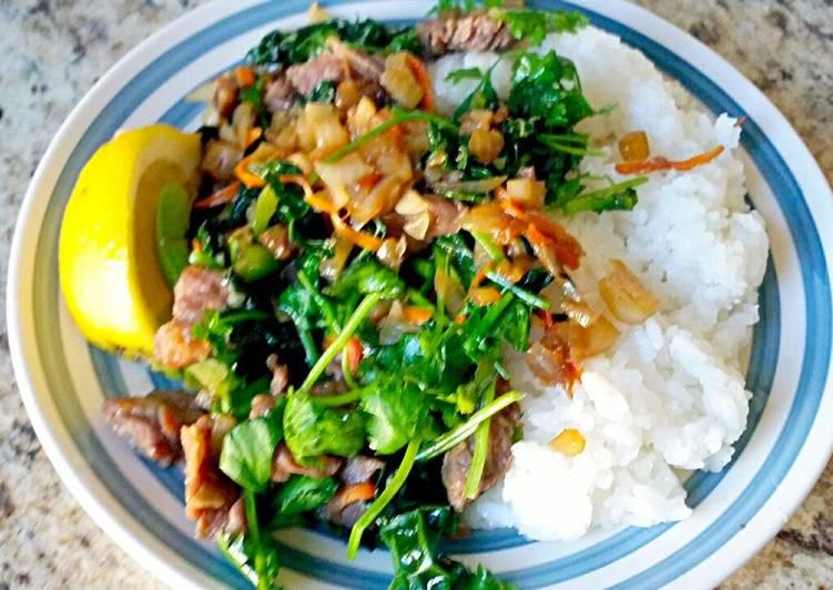 Marinated Beef Vegetable Stir Fry & Rice