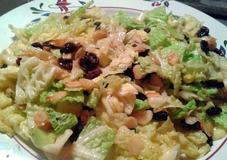 Savoy Cabbage with Almonds & Raisins (vegan)