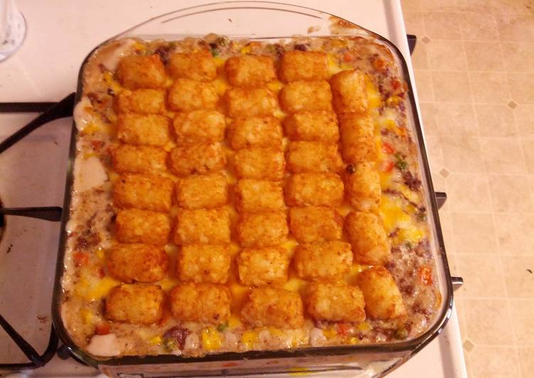 Tator Tot hotdish for ONE! (Unless you want to share)