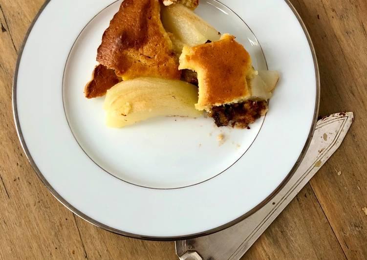 Recette Parfait Gâteau moelleux poires amandes et pépites de chocolat