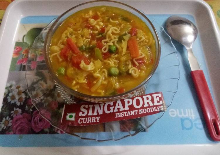 Recipe of Most Popular Singapore curry noodles soup
