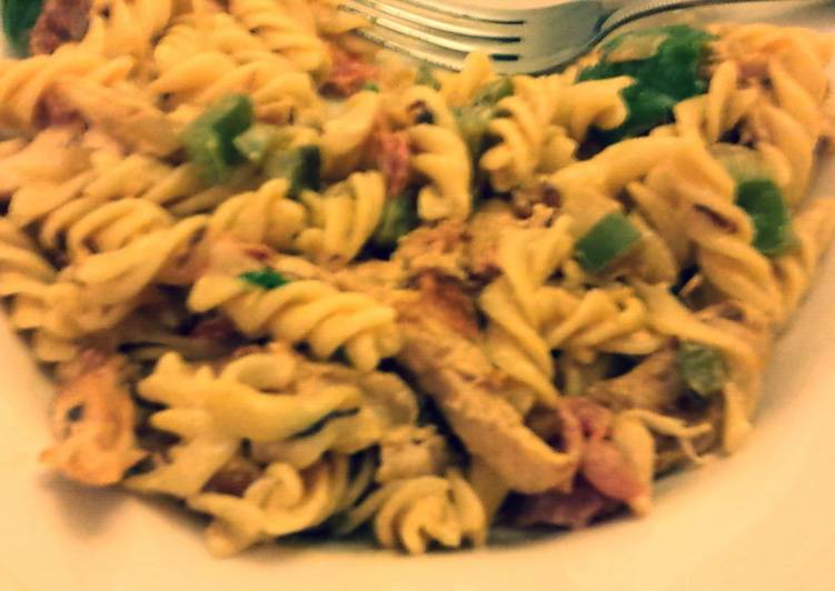 Chorizo pasta with Chicken and Bacon