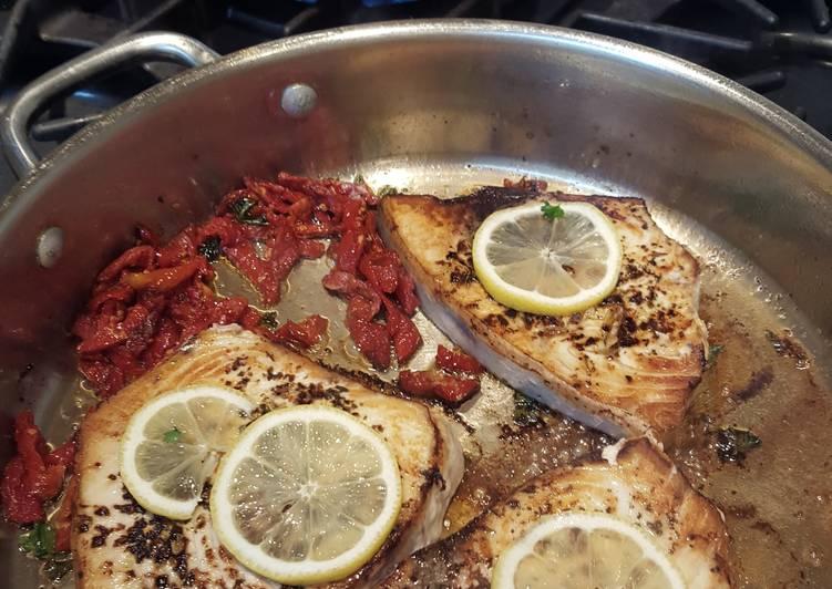 Swordfish W/ Sundried Tomatoes, Parsley, and Lemon, and Pesto Farfale