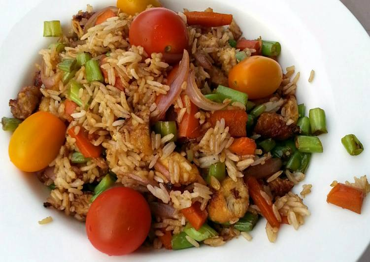 Leftover Chicken And Green Bean  Fried Rice