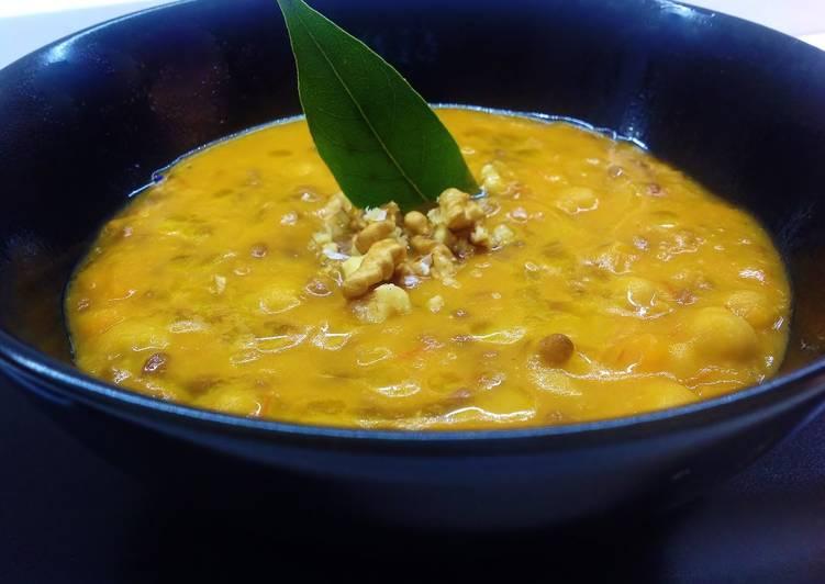 Ricetta Zuppa di lenticchie, ceci e noci