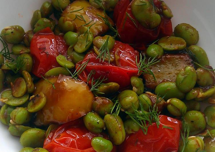 Recipe: Tasty Vickys Broad Bean Salad & Tomato Dill Sauce, GF DF EF SF NF
